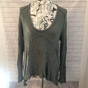Free People green thermal shirt Flowy oversized